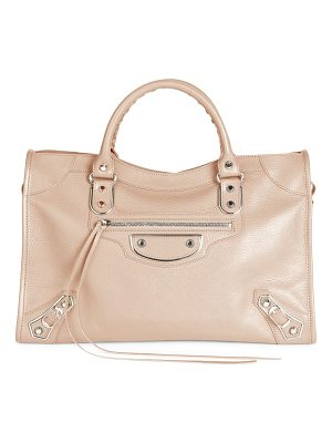Balenciaga small city metallic edge leather satchel