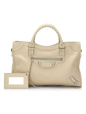 Balenciaga medium city metallic edge leather satchel