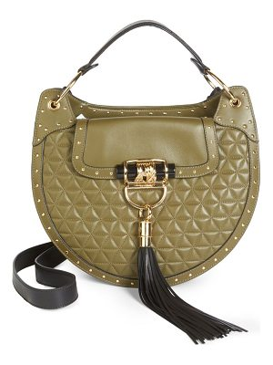 BALMAIN Quilted Leather Saddle Hobo Bag