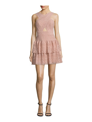 BCBGMAXAZRIA Tiered Lace Halter Dress