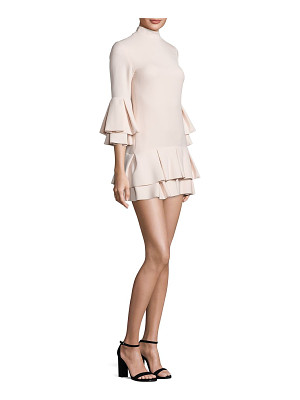 BRANDON MAXWELL Bell Sleeve Ruffle Hem Mini Dress
