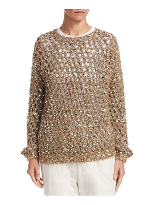 Brunello Cucinelli open weave sequin sweater