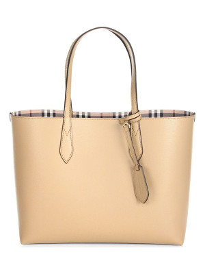 BURBERRY Medium Reversible Leather & Haymarket Check Tote