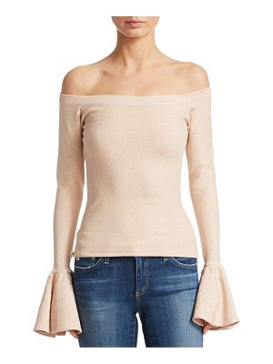 CAROLINE CONSTAS Off-The-Shoulder Poet-Sleeve Sweater