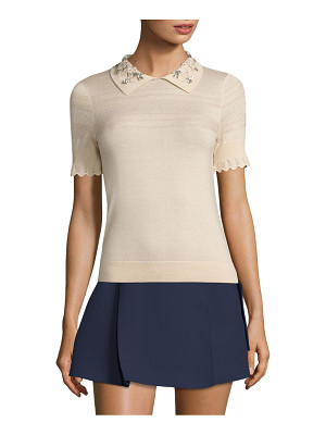 Carven jeweled collar top