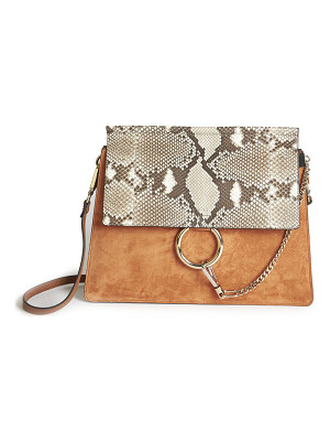 CHLOE Faye Medium Suede & Python-Embossed Leather Shoulder Bag
