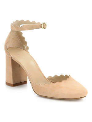 CHLOE Lauren Scalloped Suede D'Orsay Block Heel Pumps