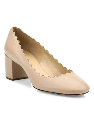 Chloe leather scallop-trimmed leather block heel pumps