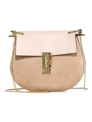 Chloe mini drew suede and leather saddle bag