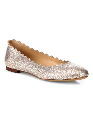 Chloe scalloped metallic leather flats