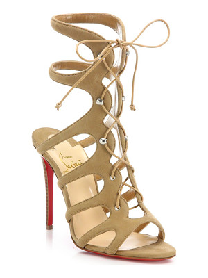 CHRISTIAN LOUBOUTIN Amazoulo 100 Suede Lace-Up Sandals