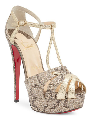 CHRISTIAN LOUBOUTIN Glennalta 150 Glitter & Metallic Leather Platform Sandals