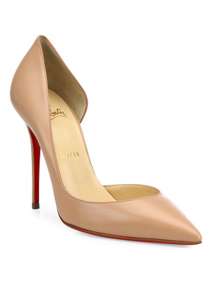 CHRISTIAN LOUBOUTIN Iriza 100 Half D'Orsay Leather Pumps