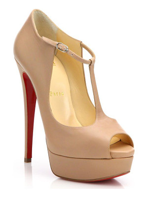 CHRISTIAN LOUBOUTIN Leather Peep Toe Platform Pumps