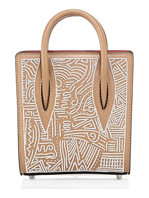 CHRISTIAN LOUBOUTIN Paloma Nano Africamana Beaded Leather Tote