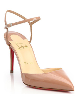 CHRISTIAN LOUBOUTIN Riverina Patent Leather Ankle-Strap Slingback Pumps