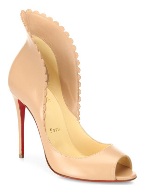 CHRISTIAN LOUBOUTIN Pijonina Scalloped Leather Peep Toe Pumps