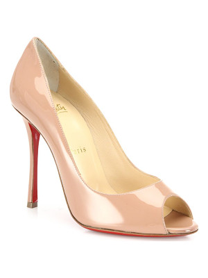 CHRISTIAN LOUBOUTIN Yootish 100 Patent Leather Peep Toe Pumps
