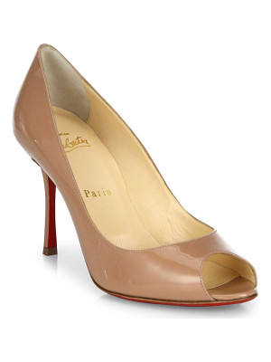 CHRISTIAN LOUBOUTIN Yootish 85 Patent Leather Peep Toe Pumps