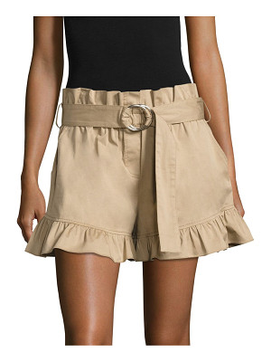 Cinq A Sept braxton belted ruffled shorts