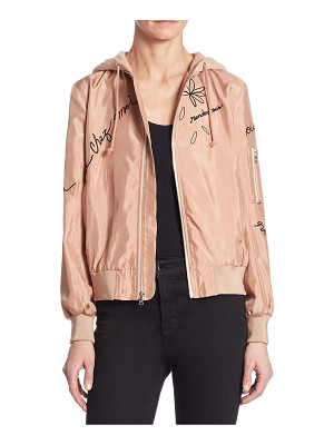 Cinq A Sept effie embroidered hooded bomber jacket