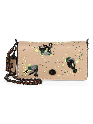COACH Dinky Meadowlark-Embellished Leather Crossbody Bag