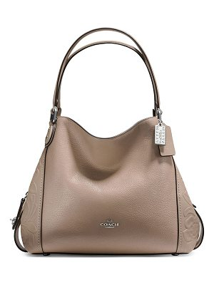 COACH Edie Tooled Leather Hobo Bag