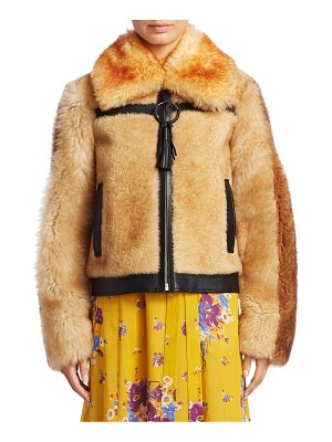 COACH pieced shearling bomber jacket