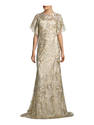DAVID MEISTER Metallic Embroidered Gown