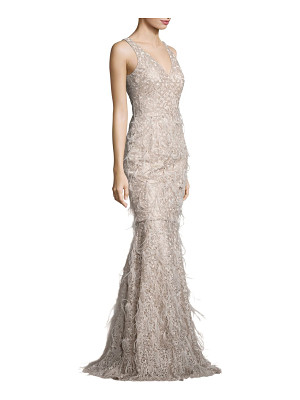 David Meister metallic embroidered lace & feather gown