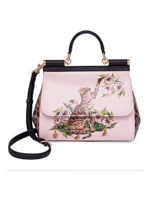 DOLCE & GABBANA Cat & Floral Leather Top-Handle Bag
