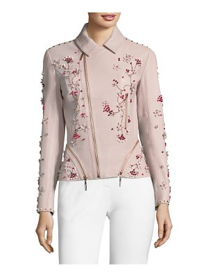 ELIE TAHARI Emalia Beaded Leather Jacket