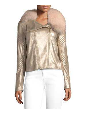 ELIE TAHARI Zia Metallic Leather Jacket