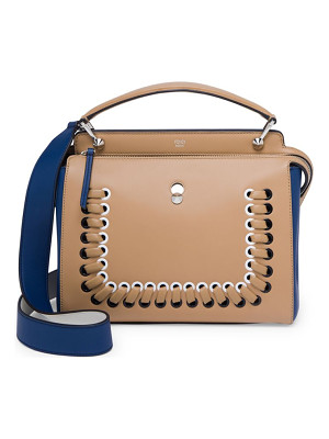 FENDI Dotcom Click Whipstitched Leather Satchel