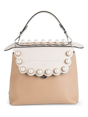 Fendi faux-pearl back to school leather backpack