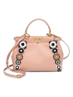 FENDI Mini Peekaboo Floral-Embellished Leather Handbag