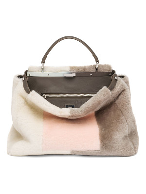 FENDI Peekaboo Large Marquetry Sheep Fur Satchel