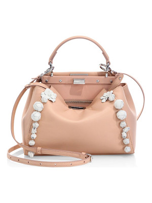 FENDI Peekaboo Mini Floral-Embellished Leather Satchel
