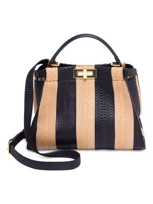 FENDI Peekaboo Regular Colorblock Snakeskin & Calf Hair Tote