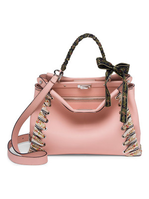 FENDI Peekaboo Ribbon-Laced Leather Satchel