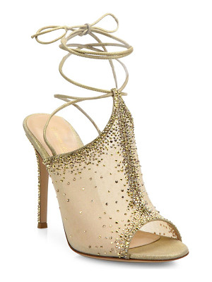 GIANVITO ROSSI Etoile Mesh & Crystal Ankle-Wrap Peep Toe Mules