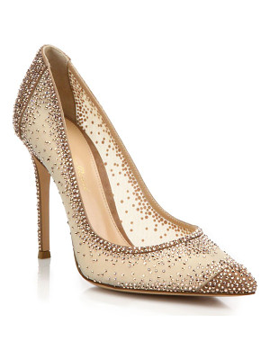 Gianvito Rossi mesh & crystal point toe pumps