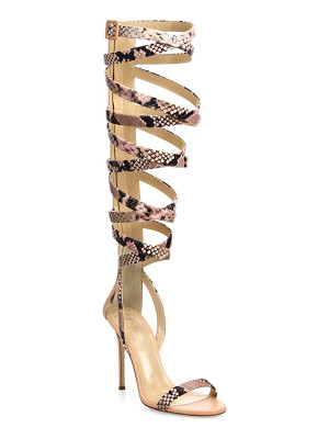 GIUSEPPE ZANOTTI Giuseppe For Jennifer Lopez 105 Snake-Print Leather Lace-Up Sandals