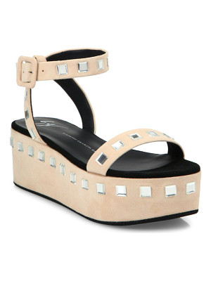GIUSEPPE ZANOTTI Jeweled Suede Platform Ankle-Strap Sandals