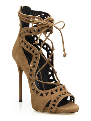 GIUSEPPE ZANOTTI Laser-Cut Suede Lace-Up Sandals