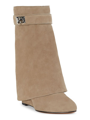 GIVENCHY Sharklock Suede Wedge Booties