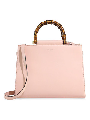 GUCCI Leather Bamboo Top-Handle Tote