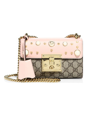 GUCCI Padlock Studded Leather Shoulder Bag