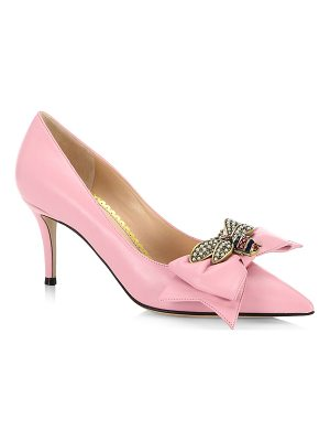 Gucci leather mid-heel pumps with bow
