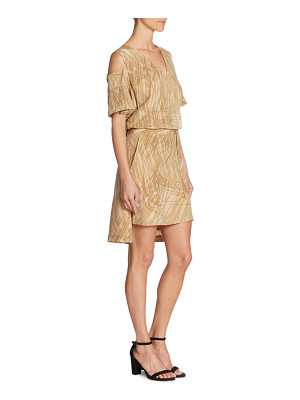 Halston cold-shoulder wrap mini dress